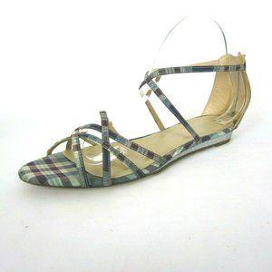 J. CREW 8.5 Plaid Sandals Mint Green Purple Wedge